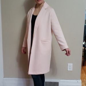 Soft Pink Long Trench Coat
